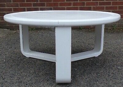 1960s retro Art Deco style circular round white coffee occasional side table