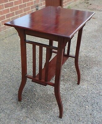 Victorian antique Arts Crafts solid mahogany slatted lamp occasional side table