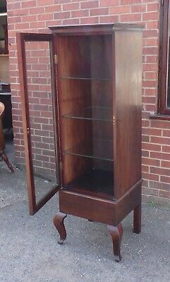 Edwardian antique solid mahogany bevelled glass locking shop display cabinet
