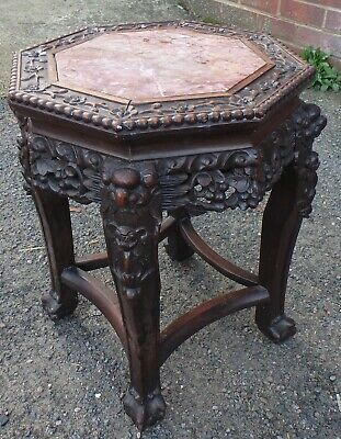 Victorian Chinese antique Qing dynasty solid rosewood marble vase stand table