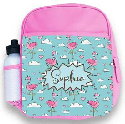 Personalised Kids Backpack Any Name Flamingo Girl Childrens Back To School Bag 1