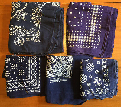 Lot of 5 Bandanas 4 FAST COLOR 1 TOWER Handkerchiefs Blue Read Conditions