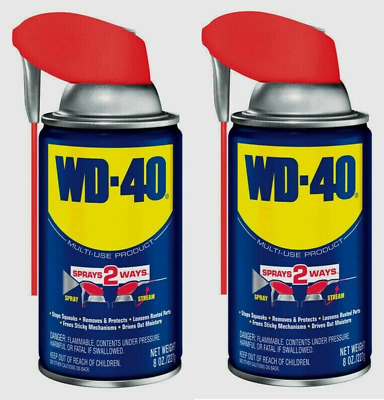 2 WD-40 Multi-Purpose Lubricant w/ Smart Straw - Spray Two Ways NEW 4900262 8 oz