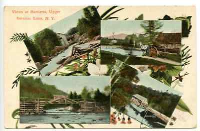 Multi-View, BARTLETTS, UPPER SARANAC LAKE, New York  Rural Log Bridge, Carriage