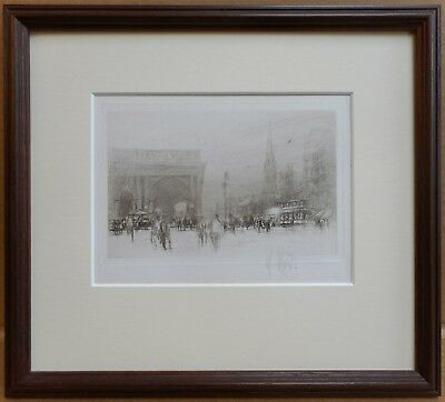 Newcastle Central Station. Signed Drypoint Etching by William Walcot RE, 1922