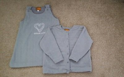 Girls Spinash Grey Fleece Pinafore Heart Dress and Jacket age 8 years