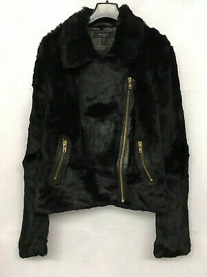 Muubaa Black Spitfire Rabbit Fur Biker Jacket. Various Sizes. RRP £595. M1086.