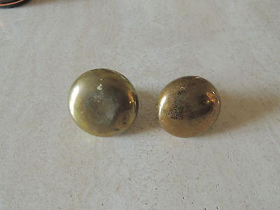 "2 vintage solid brass Door knob handle SMALL 2 "" LARGE 2 1/4 "" DIFFERENT STYLE"