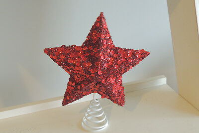 Christmas Star Tree Topper red  Ornament 9 -Inch Star Treetop Holiday Decor