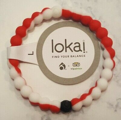 Lokai Authentic Red & White Size LARGE - TripAdvisor Int'l Rescue Comm