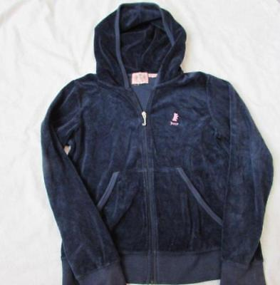 JUICY COUTURE girls 12 navy blue velour zip hoodie jacket embroidered dog logo