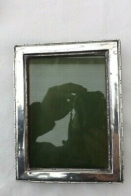 SOLID SILVER PHOTOGRAPH FRAME 17CMS by 13CMS GLASS,GREEN SILK AND STAND