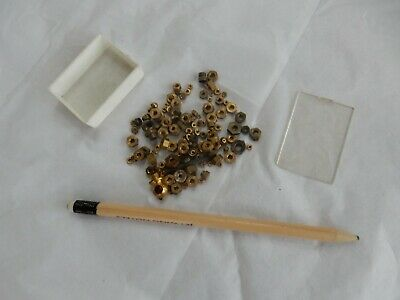 tiny brass nuts  little box full ! to upcycle  clock maker modeller etc repairs