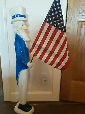 Vtg Don Featherstone Blow Mold Uncle Sam Yard Figure Veterans Day July 4th 36""