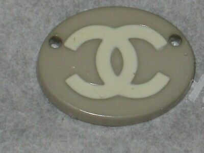CHANEL  CC LOGO  AUTH TAUPE  OFF WHITE RESIN BUTTON TAG 16 x 12  MM  emblem