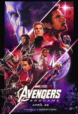 Avengers End Game Teaser Movie Poster Canvas 20X30 Glossy Photo Paper 24X36
