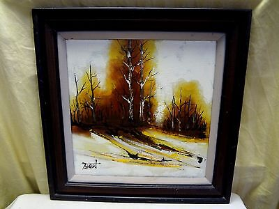"Vintage 1970's Signed Brent Abstract Forest Landscape Oil Painting 18""x 18"""