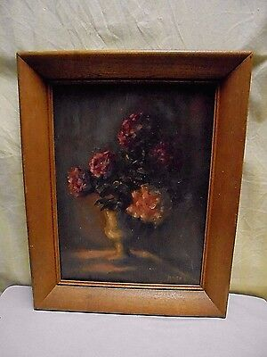 1930's Hazel Boehme Framed Rose Flower Floral Still Life Oil Painting 15.5 x 20