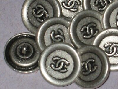 Chanel 10 Cc Logo  Auth Silver Metal Buttons 12 Mm / Just Over 1/2 '' New Lot 10