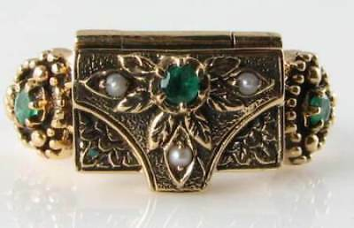 Rare 9Ct 9K Gold Victorian Ins Emerald & Pearl Locket Poison Ring Free Resize