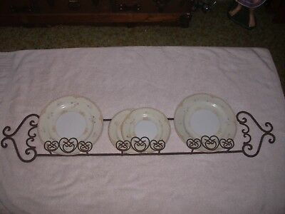 """Vintage Wrought Iron/MetalScrolled 3Tier Plate/Picture Holder Wall Hanging 42""""L"""