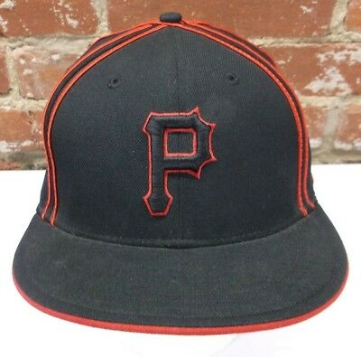 official photos 4d851 babca Pittsburgh Pirates MLB Sz 7 1 4 New Era 59Fifty Red Black Wool Fitted Cap