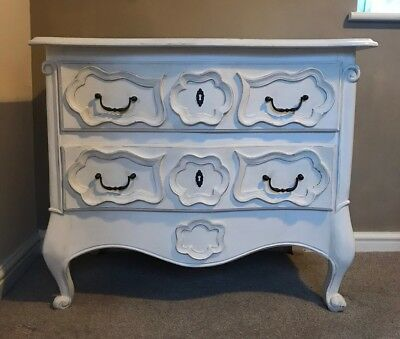Painted French Louis XV Style Ornate Chest Of Drawers Curved Legs Shabby Chic