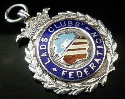Silver Enamel Pocket Watch Fob Medal, FATTORINI 1934, Lads Clubs Federation
