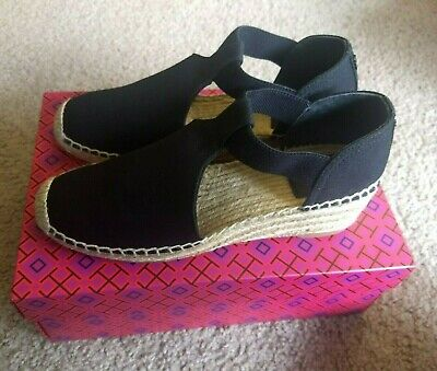 8ecf491cd66 NIB TORY BURCH Catalina 3 Espadrille Wedge Sandals Shoes Black 8 MSRP $198