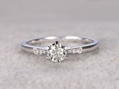 1.50 Ct Round Cut Diamond Promise Engagement Ring 14k White Gold Over