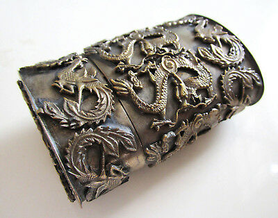 VINTAGE Chinese Old Tibet Metal Oval Snuff Toothpick Perfume Spice Box DRAGONS