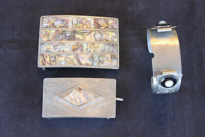 2 Silvertone Inlaid Mother Of Pearl Belt Buckles And German Silver Watch Band