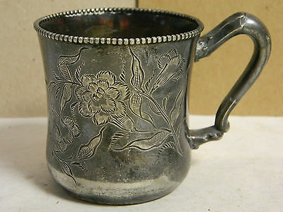 Antique Colonial Silver Co. Etched Silverplate Children's Cup Beaded Rim Excel