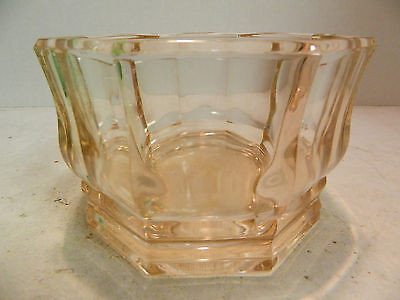 "Vintage Pink Depression Glass Octagonal Candy Dish / Bowl 3.5"" x 5.25"" Excellent"