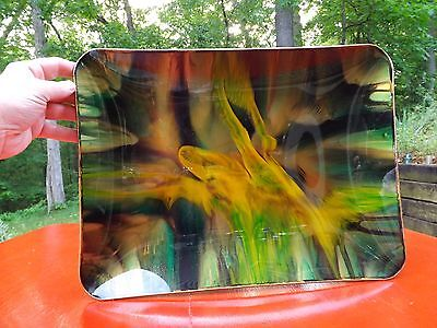 Seetuse vintage serving tray, art glass, and pig skin STUNNING to behold !