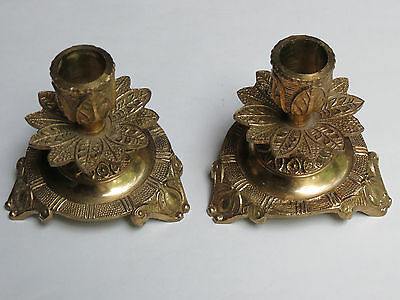 Vintage Pair Solid Brass Candle Holders, Spain