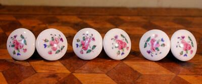6 Vintage Chintz Hand Painted Ceramic Floral Drawer Cabinet Pull Handles Knobs B