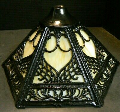 "Antique Cast Iron & Tan Slag Glass 6 Panel Filigree Lamp Shade 7.5"" x 15"" Excell"