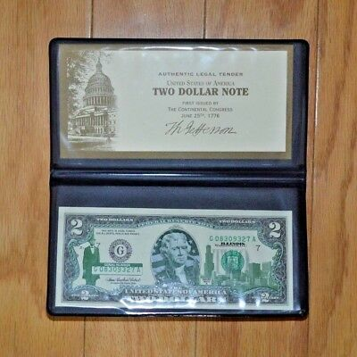 Authentic Legal Tender Two Dollar Note Colorized for Illinoise