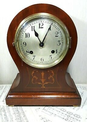 Antique Mahogany NEW HAVEN Inlaid Balloon Mantle Mantel Clock Full Working Order