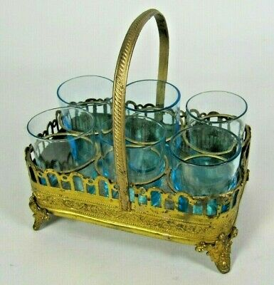 Antique 19thC French Gilt Brass Liquor Shot Glass Blue Set Paris Royale w/ Tray