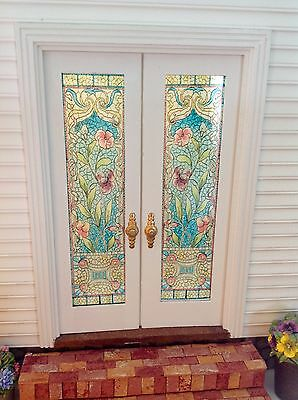 Floral Dollhouse Miniature Stained Glass French Door Films