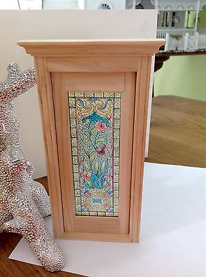 Dollhouse Miniature Single Door Stained Glass Film, Floral