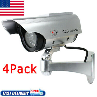 4x Solar Powered Dummy Surveillance Security Camera CCTV with LED Record Light/