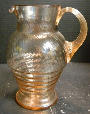 "Vintage Ribbed & Swirl Pink Depression Glass Pitcher 9.25"" x 5"" Excellent Cond"