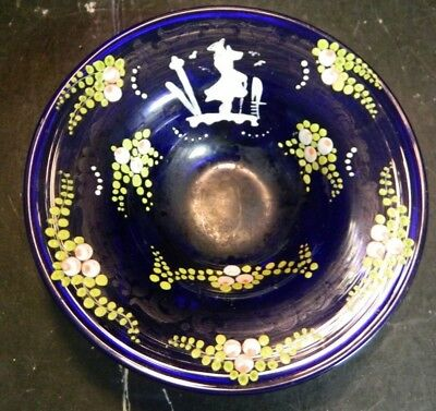 """Antique Hand Painted Mary Gregory Cobalt Blue Footed Round Bowl 1.5"""" x 5"""" Excell"""