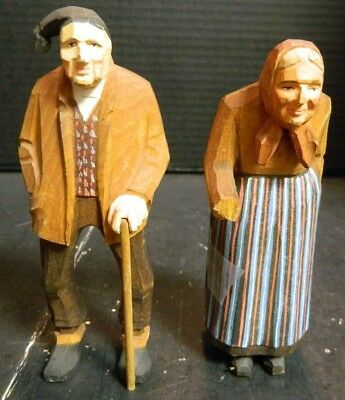 Antique Hand Carved Wooden Black Forest Old Man & Woman w/ Canes Figurines VG