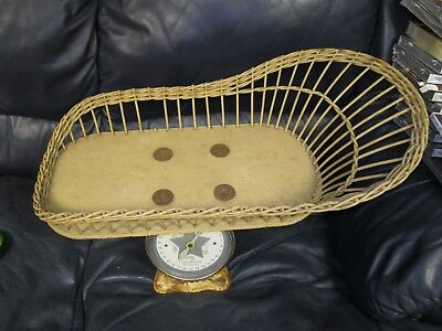 Antique Vintage BABY SCALE Nursery Wicker Basket Baby 26 x 14in
