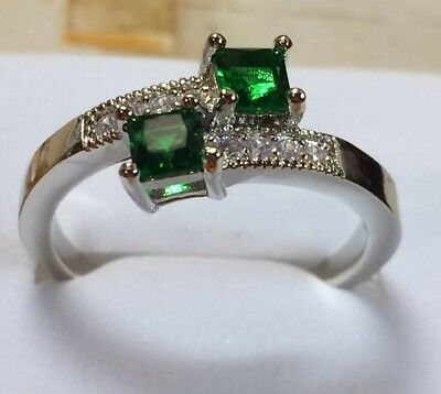 AD176 Sterling Silver Art Deco Vintage Duo Emerald & White Sapphire Ring Size P