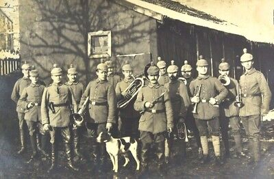 RPPC Early 1900's German Marching Military Band with Dog Bodenmais Bay Wald RARE